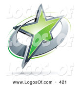 June 21st, 2013: Logo Vector of a 3d Green Star in a Chrome Circle, Above Space for a Business Name and Company Slogan by Beboy