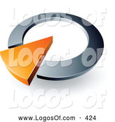 Logo Vector of a 3d Orange Arrow in a Silver Circular Dial, Above Space for a Business Name and Company Slogan by Beboy