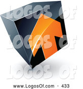 Logo Vector of a 3d Orange Arrow on a Tilted Black Cube, Above Space for a Business Name and Company Slogan by Beboy