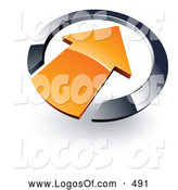 Logo Vector of a 3d Orange Arrow Pointing Inwards in a Blue Circle by Beboy