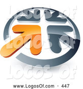 Logo Vector of a 3d Orange Arrow Standing out in a Circle of Chrome Arrows, Above Space for a Business Name and Company Slogan by Beboy