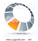 Logo Vector of a 3d Orange Square in a Chrome Dial, Above Space for a Business Name and Company Slogan by Beboy