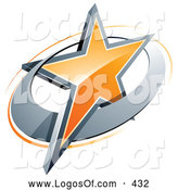 Logo Vector of a 3d Orange Star in a Chrome Circle, Above Space for a Business Name and Company Slogan by Beboy
