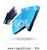 Logo Vector of a 3d Pre-Made Logo of Blue and Gray Arrows Going in Opposite Directions by Beboy