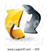 Logo Vector of a 3d Pre-Made Logo of Gray and Yellow Circling Arrows by Beboy