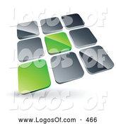 Logo Vector of a 3d Pre-Made Logo of Two Green Tiles Standing out from Rows of Silver Tiles by Beboy
