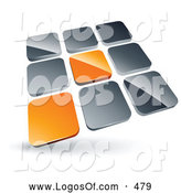 Logo Vector of a 3d Pre-Made Logo of Two Orange Tiles Standing out from Rows of Silver Tiles by Beboy