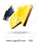 September 17th, 2013: Logo Vector of a 3d Pre-Made Logo of Yellow and Gray Arrows Going in Opposite Directions by Beboy