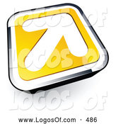 Logo Vector of a 3d White Arrow on a Yellow and Chrome Button by Beboy