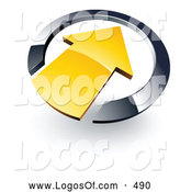 Logo Vector of a 3d Yellow Arrow Pointing Inwards in a Blue Circle by Beboy