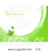 April 19th, 2013: Logo Vector of a Beautiful Green Butterfly Above Green Leaves with Dew Drops, on Waves of Green and White, Around White with Space for Text or a Business Name by KJ Pargeter