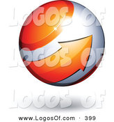 Logo Vector of a Big Orange Arrow Circling an Orb Above Space for a Business Name and Slogan, on a White Background by Beboy