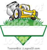August 11th, 2012: Logo Vector of a Big Smiling Yellow Lawn Mower Mascot Cartoon Character on a Triangle Logo with a White Label by Toons4Biz