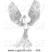 Logo Vector of a Black and White Coloring Page Outline of a Magical Flying Phoenix Bird by AtStockIllustration