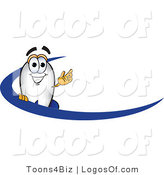 Logo Vector of a Blimp Waving over a Blue Dash by Toons4Biz