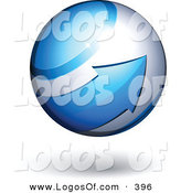 Logo Vector of a Blue Arrow Circling a Shiny Orb by Beboy
