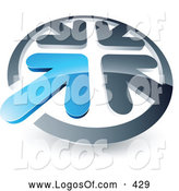 June 29th, 2013: Logo Vector of a Blue Arrow Standing out in a Circle of Chrome Arrows, Above Space for a Business Name and Company Slogan, on White by Beboy