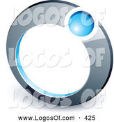 Logo Vector of a Blue Ball in a Silver Ring, Above Space for a Business Name and Company Slogan by Beboy