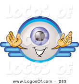 September 17th, 2012: Logo Vector of a Blue Eyeball Mascot Cartoon Character on a Business Logo on White by Toons4Biz