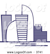 Logo Vector of a Blue Skyscraper Logo with Modern Buildings by Vector Tradition SM