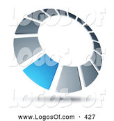 Logo Vector of a Blue Square Completing a Chrome Dial, Above Space for a Business Name and Company Slogan by Beboy