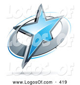 June 19th, 2013: Logo Vector of a Blue Star in a Chrome Ring, Above Space for a Business Name and Company Slogan by Beboy