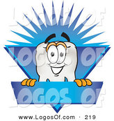 Logo Vector of a Cheerful Tooth Mascot Cartoon Character on a Blank Blue Business Label by Toons4Biz