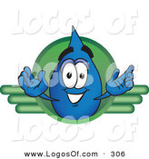Logo Vector of a Cheerful Water Drop Mascot Cartoon Character on a Green Business Logo by Toons4Biz