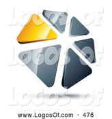 Logo Vector of a Circle of Yellow and Silver Reflective Metallic Triangles by Beboy