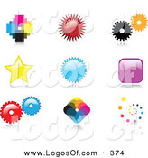 Logo Vector of a Collection of Nine Colorful Pixelated, Burst, Cogs, Stars, Squares and Spiral Logo Icon Designs with Reflective Shadows by KJ Pargeter