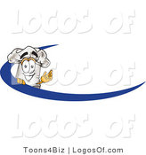 August 16th, 2012: Logo Vector of a Cooks Hat Mascot Cartoon Character on an Employee Name Tag with a Blue Dash by Toons4Biz