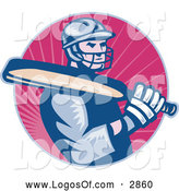 Logo Vector of a Cricket Batsman over Pink Rays by Patrimonio