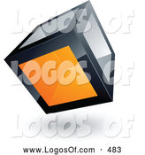 Logo Vector of a Cube with One Orange Transparent Window on White by Beboy