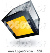 Logo Vector of a Cube with One Yellow Transparent Window on White by Beboy