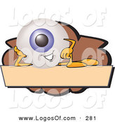 September 20th, 2012: Logo Vector of a Cute Blue Eyeball Mascot Cartoon Character on a Blank Brown and Tan Label by Toons4Biz
