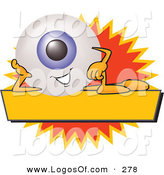 September 25th, 2012: Logo Vector of a Cute Blue Eyeball Mascot Cartoon Character on a Blank Yellow and Orange Label by Toons4Biz