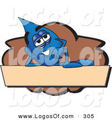 Logo Vector of a Cute Blue Water Drop Mascot Cartoon Character Reclining on a Blank Tan and Brown Label by Toons4Biz