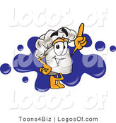 August 29th, 2012: Logo Vector of a Cute Chef's Hat Mascot Cartoon Character Logo with a Blue Paint Splatter by Toons4Biz