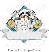 August 28th, 2012: Logo Vector of a Cute Chefs Hat Mascot Cartoon Character over a Blank Banner by Toons4Biz
