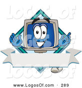 Logo Vector of a Cute Desktop Computer Mascot Cartoon Character on a Blank Label with a Blank Banner and Diamond by Toons4Biz