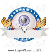 September 24th, 2012: Logo Vector of a Cute Eyeball Mascot Cartoon Character on a Blank American Themed Label by Toons4Biz