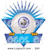 September 22nd, 2012: Logo Vector of a Cute Eyeball Mascot Cartoon Character on a Blue Business Ribbon by Toons4Biz
