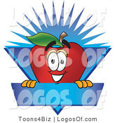 September 2nd, 2012: Logo Vector of a Cute Happy Red Apple Character Mascot Label with a Burst by Toons4Biz