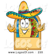 Logo Vector of a Cute Hispanic Taco Mascot Cartoon Character on a Blank Tan Label, Logo or Sign by Toons4Biz