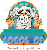 August 23rd, 2012: Logo Vector of a Cute Smiling Chefs Hat Mascot Cartoon Character over a Blank Label by Toons4Biz