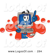 Logo Vector of a Desktop Computer Monitor Mascot Cartoon Character Standing in Front of a Red Paint Splatter on a LogoDesktop Computer Monitor Mascot Cartoon Character Standing in Front of a Red Paint Splatter on a Logo by Toons4Biz