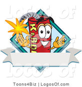 Logo Vector of a Dynamite Guy with a Blank Ribbon Label by Toons4Biz