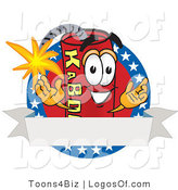 Logo Vector of a Dynamite Guy with Stars and a Blank Ribbon Label by Toons4Biz