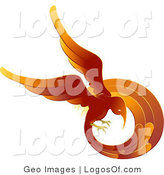 Logo Vector of a Flaming Red and Orange Phoenix Fire Bird Flying in a Circle, Symbolizing Continuous Rebirth by AtStockIllustration