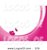 Logo Vector of a Flying Pink Butterfly Above Two Hearts on Waves of Pink and White, Around White with Space for Text or a Business Name by KJ Pargeter